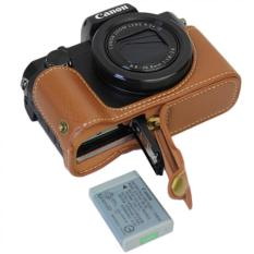 Bottom Opening Versio Protective Genuine Real Leather Half Camera Case Bag Cover With Tripod Design For Canon PowerShot G5 X G5x Camera With Genuine Real Leather Hand Strap Brown - Intl