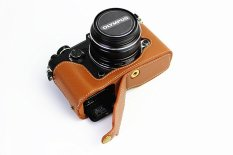 Bottom Opening Version Protective Genuine Real Leather Half Camera Case Bag Cover With Tripod Design For Olympus PEN-F Camera With Genuine Real Leather Hand Strap Brown (Intl)