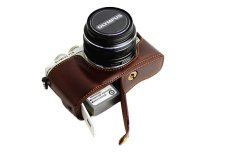 Bottom Opening Version Protective PU Leather Half Camera Case Bag Cover With Tripod Design For Olympus PEN Lite E-PL7 EPL7 Camera With Hand Strap (Dark Brown) (Intl)