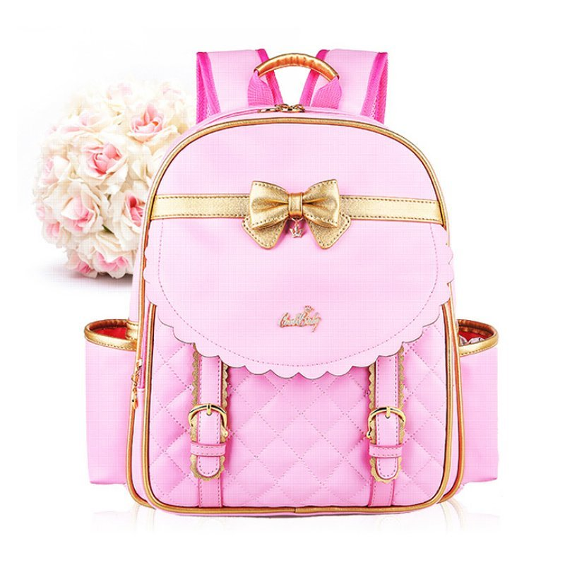 Bowknot packbag primary school elementary school junior school grade school Students School bag Kids Daypacks book bag (Pink) (Intl)