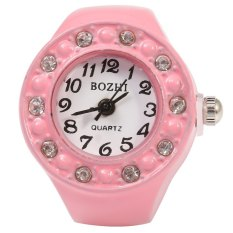 BOZHI Candy Color Women Artificial Diamond Finger Ring Quartz Watch Alloy Body Elastic Band Random Dial Style (PINK)