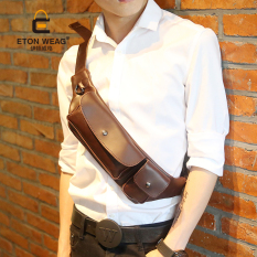 Brand Design New Korean Men's Handbag Men Old School Small Waist Bag Leisure Small Chest Bag Phone Bag Cool Men's Handbag -Coffee