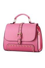 Brief Design Rivet Women Tote Bag Office Lady Handbag Pink
