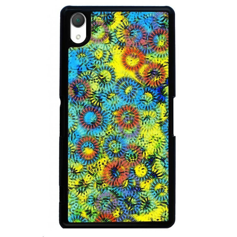 Bright Color Art Oil Printed Cover For Sony Xperia Z4 (Black)