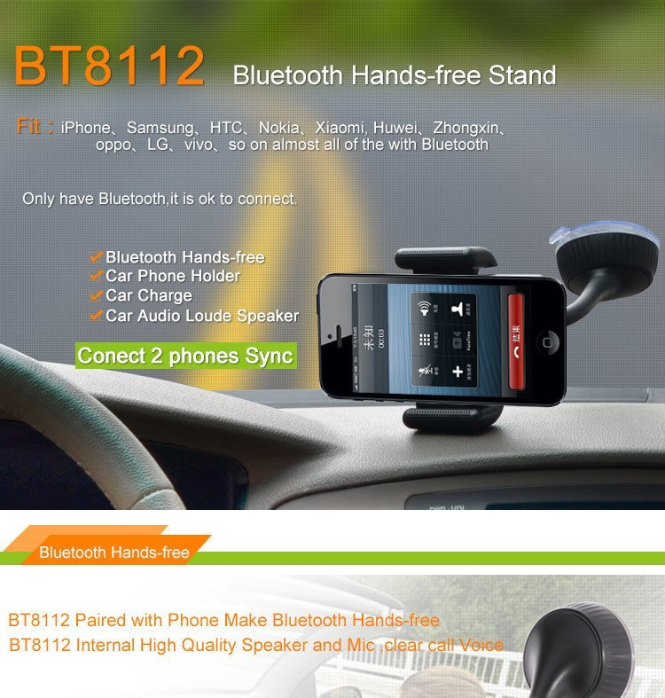 BT8112 Bluetooth Handsfree Car Mobile Phone Holder with Speaker Car Charger Windshield Mount Stand Holder for Iphone Samsung Smartphone (Intl)
