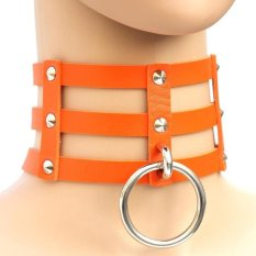 BUYINCOINS New Fashion Punk Goth Rivets Choker Three Row Caged Leather Ring Collar Necklace Orange - Intl