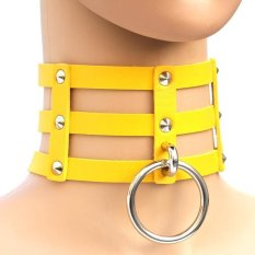 BUYINCOINS New Fashion Punk Goth Rivets Choker Three Row Caged Leather Ring Collar Necklace Yellow - Intl