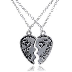 Buytra Best Friends Friendship Pendant Necklaces Chic 2PCS Broken Heart Necklaces Silver- Intl