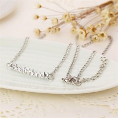 Buytra Best Friends Pendant Necklaces Vintage Bestfriend Letters Friendship Necklaces Silver- Intl