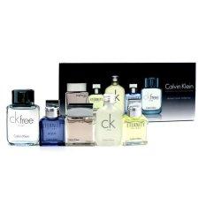 Calvin Klein Deluxe Koleksi Bepergian: Eternity 10ml + Euphoria 10ml + CK Free 10ml + Eternity Aqua 10ml + CK One 5x10ml / 0.33oz
