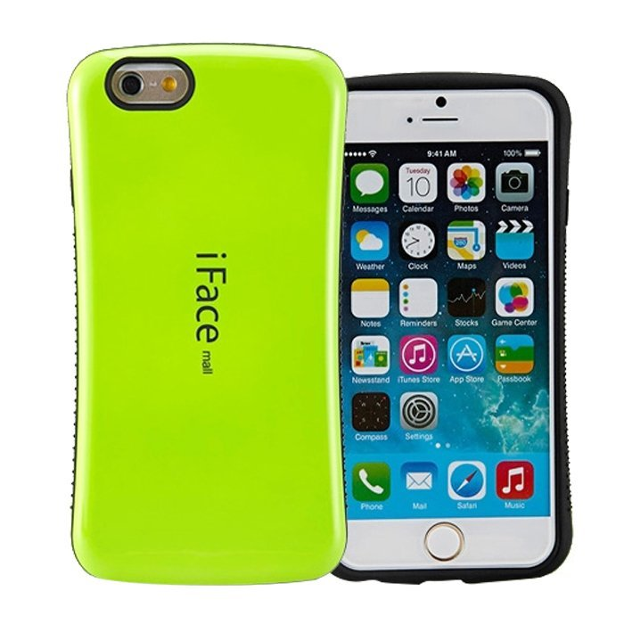 Candy Color Korea Style Shock Absorbing iFace case TPU+PC Hard Case Silicone Cover for iphone 6/6s green (Intl)