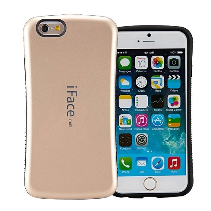 Candy Color Korea Style Shock Absorbing iFace case TPU+PC Hard Case Silicone Cover for iphone 6 plus/6s plus golden (Intl)