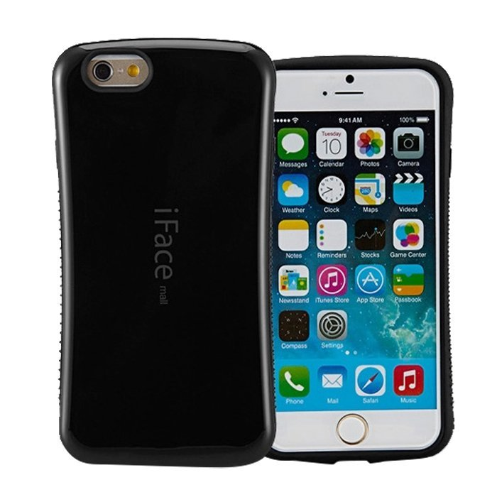 Candy Color Korea Style Shock Absorbing iFace Case TPU+PC Hard Case Silicone for Iphone 6 plus/6s plus Black (Intl)