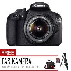 Canon EOS 1200D Lensa Kit 18-55 mm III - 18 MP - Hitam + Tas Kamera Canon + Sandisk 16 Gb + Tripod Attanta Kaiser 203