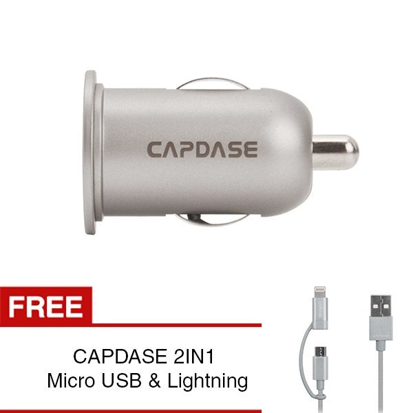 Capdase Pico K2X Dual Adapter Mobil + Gratis Kabel 2in1 Silver Micro USB / Lightning