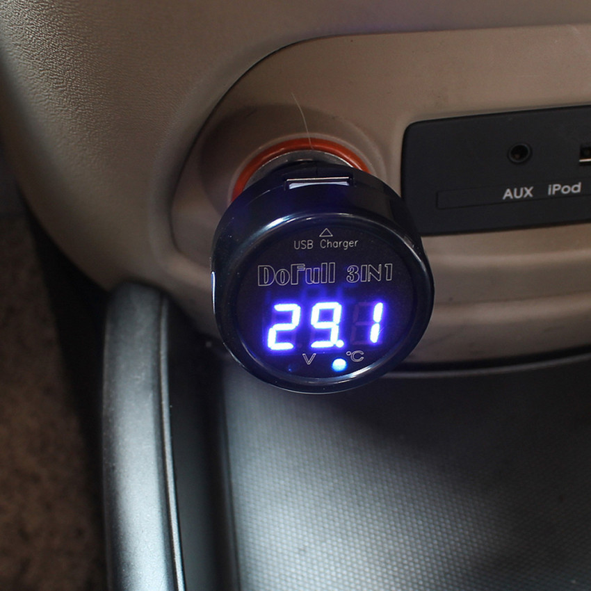 Car Auto 12V 24V USB Charger LED Digital Thermometer Voltage Battery Voltmeter Blue (Intl)