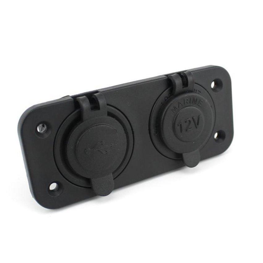 Car Charger Dual USB LED 12V - Hitam