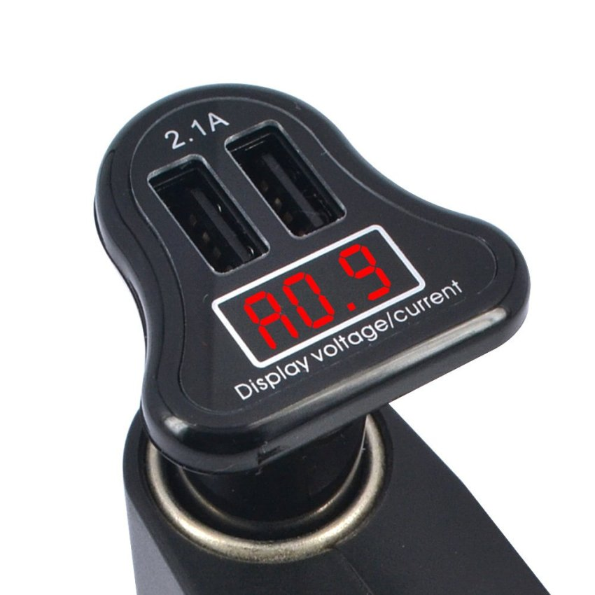 Car Charger with LED Display 2.1A - Black
