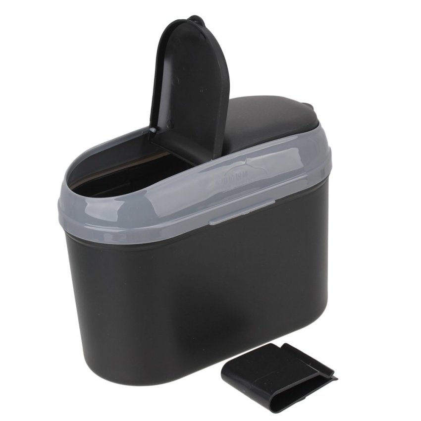 Car Dustbin Trash Can (Silver/Black)