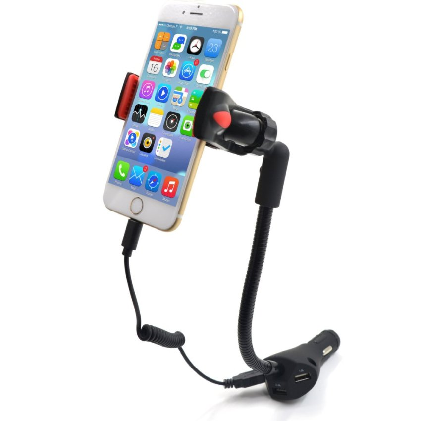 Car Phone Holder with 3 USB Port Charger 5V 5.5A Car Charger Mount Stand for Iphone Samsung Xiaomi Universal 3.5-6.3