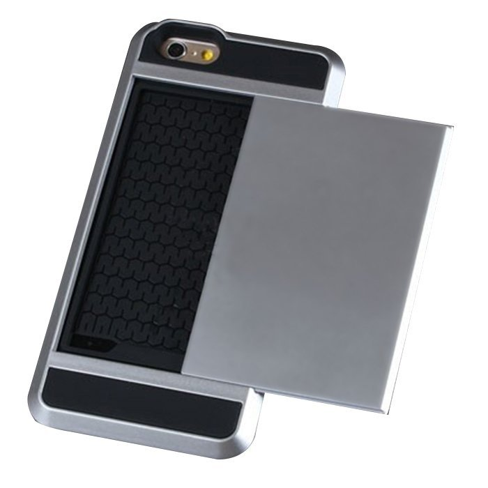 Card Slider with Card Storage Cover Case for Apple iphone 5 silver (Intl)