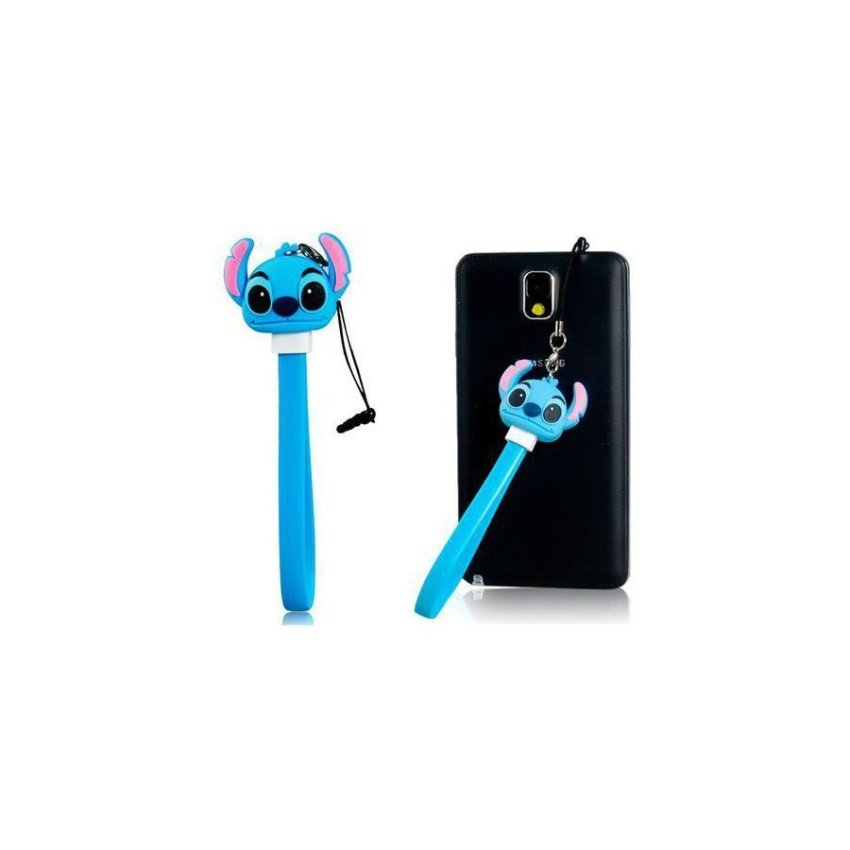 Cartoon Design USB / Micro USB Charging Data Cable with Dust Plug Blue