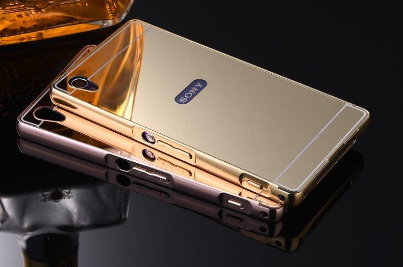 Case Aluminium Bumper Mirror for Sony Xperia M4 Aqua - Gold + Free Tempered Glas