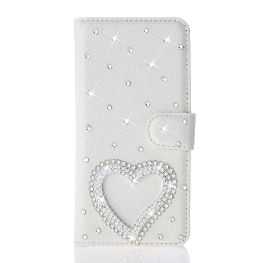 Case for Alcatel One Touch MPop OT5020 3D Bling Diamond PU Leather Flip Stand Case Wallet Card Holders - White (Intl)