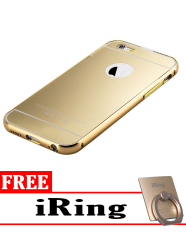 Case for Apple iPhone 6 Aluminium Bumper With Mirror Backdoor Slide - Gold  + Free iRing 23970e1401