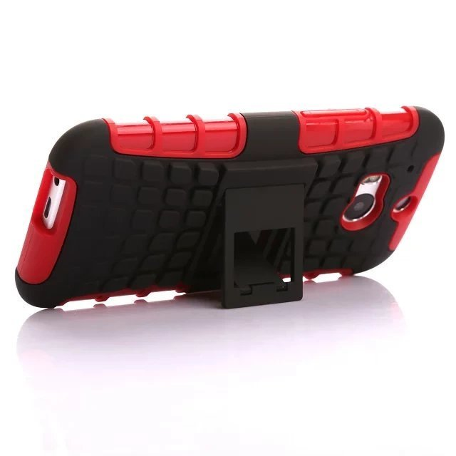 Case for HTC One M8 Combo High Impact Case Cover Defender with Kickstand - Red (Intl)