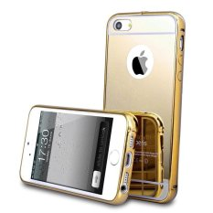 Case For Iphone 5   5S   5SE Bumper Chrome With Backcase Mirror Slide - Gold 98a20de5f6