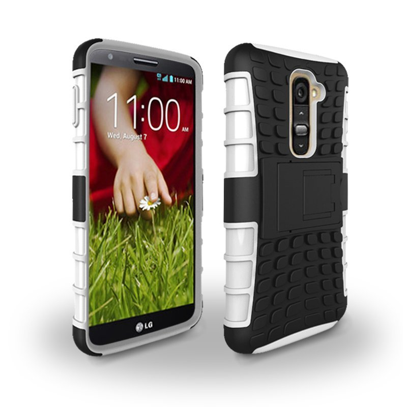 Case for LG G2 Tire Design Shockproof Defender Case with Kickstand - White (Intl)