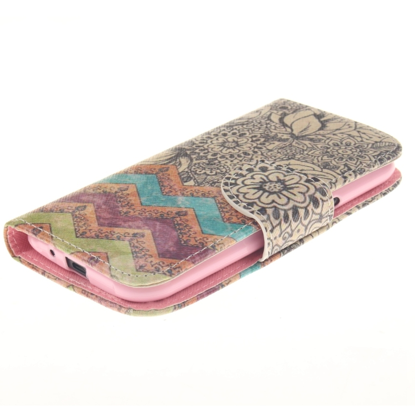 Case for Samsung Galaxy J1 PU Leather Case Flip Stand Cover - Wave Flower (Intl)