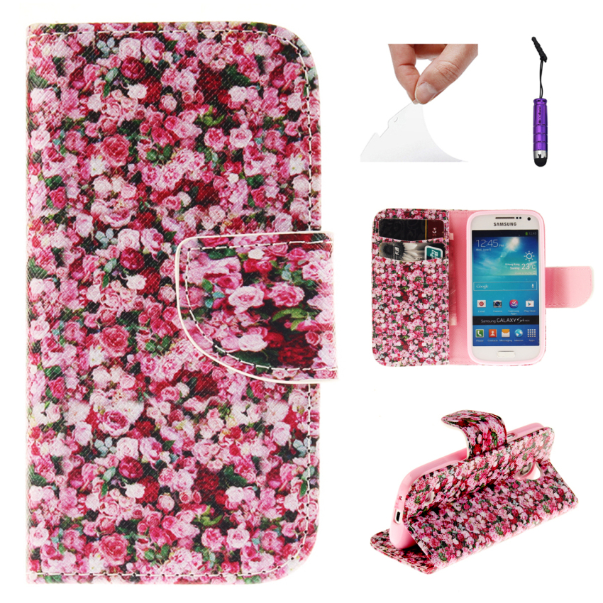 Case for Samsung Galaxy S4 Mini i9190 PU Leather Case Flip Stand Cover - Floral Pattern (Intl)