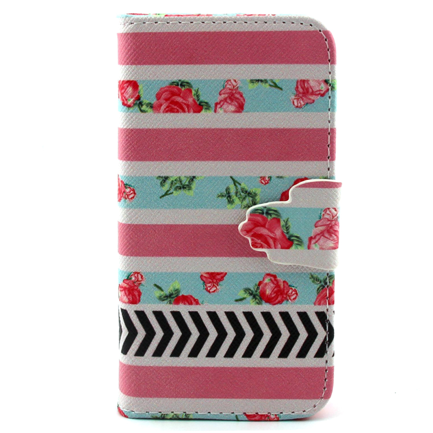 Case for Samsung Galaxy S5 Mini PU Leather Case Flip Stand Cover - Flower (Intl)
