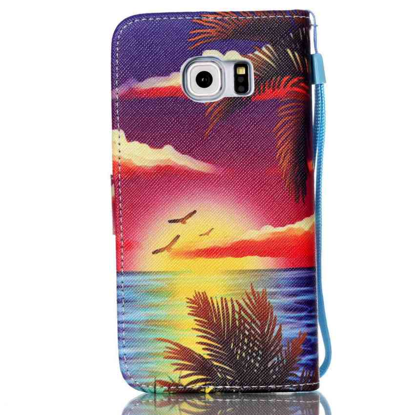 Case for Samsung Galaxy S6 Edge G9250 PU Leather Flip Stand Case Cover Wallet - Seascape (Intl)