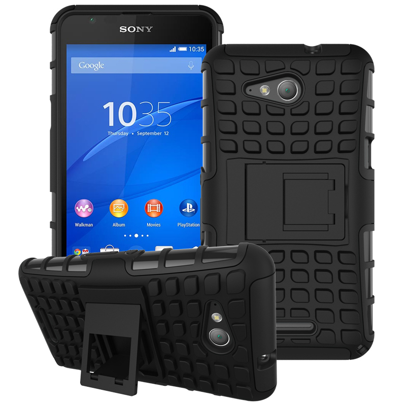 Case for Sony Xperia E4g Tire Design Shockproof Defender Case with Kickstand - Black (Intl)