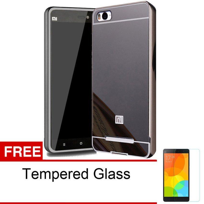 Case Mirror Metal Bumper Sliding For Xiaomi Mi4i - Hitam + Gratis Tempered Glass