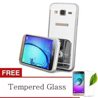 Case Samsung Galaxy J5 Aluminium Bumper Mirror Silver Gratis Tempered Glass .