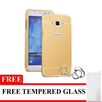 Case untuk Samsung Galaxy J1 ACE Bumper Backcase Mirror Series - Gold + Gratis T