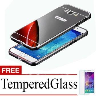 Casing Metal Bumper Mirror for Samsung Galaxy J7 – Black + Free Tempere Glass