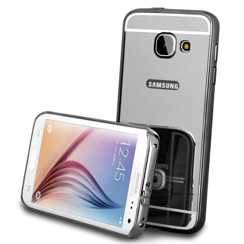 Casing Mirror Aluminium Bumper With Sliding Casing For Samsung Galaxy A3 / A310F 2016 - Hitam + Gratis Tempered Glass