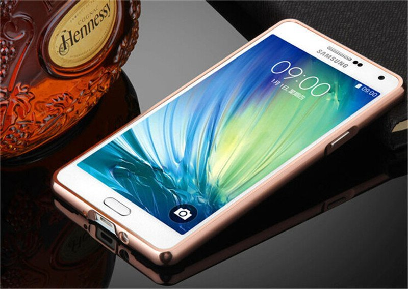 Casing Mirror Aluminium Bumper With Sliding Casing For Samsung Galaxy A5 / A510F 2016 - Rose Gold + Gratis Tempered Glass