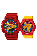 Casio G-Shock & Baby-G Men's Women's GA-110FC-1A & BGA-131-4B5 Couple Resin Strap Watch Red / Yellow
