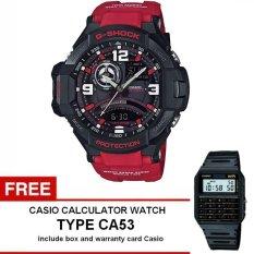 Casio G-Shock G-Aviation Gravity Defier Watch Jam Tangan Pria - Merah - Strap Karet - GA-1000-4BDR + Gratis Casio Calculator Watch CA53 (One Size)