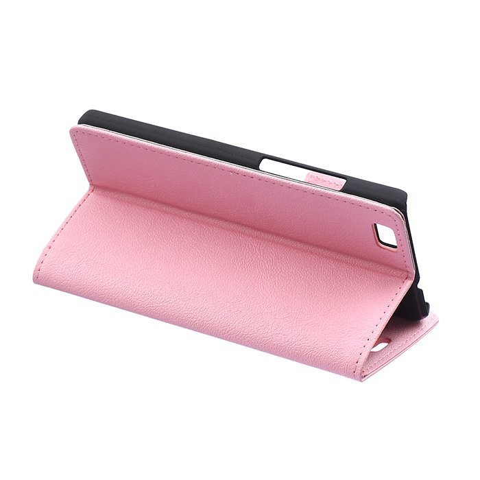 Cass Leather Flip Case With Card Slot for Huawei Ascend P8 Lite (Pink) (Intl)