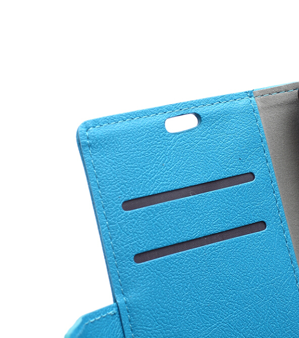 Cass Leather Flip Cover with Card Slot for Sony Xperia M5 (Blue) (Intl)