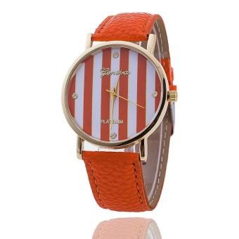 Casual GENEVA Leather Strap Watches Women Stripe Dress Quartz Wristwatch (Orange)