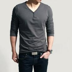 Casual Style Men's Fashion Slim Long Sleeve T Shirt Dark (Grey) (Intl)