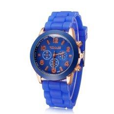 Casual Watch Geneva Unisex Quartz Watch Men Women Analog Wristwatches Fashion Sports Watches Rose Gold Silicone Watches (Blue) (Intl)